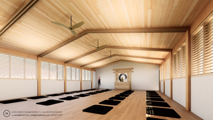 zendo-Concealed Truss w wood ceiling